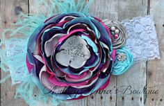Frozen Headband, OTT, Couture, Singed Satin Flower, Satin Flower Headband, Photo Prop, Photography