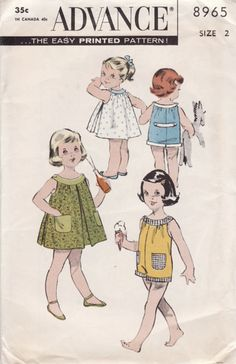 1950s Toddlers Playsuit or Sleeveless Dress Advance 8965 Vintage Sewing Pattern Size 2 UNCUT No Envelope by sandritocat on Etsy