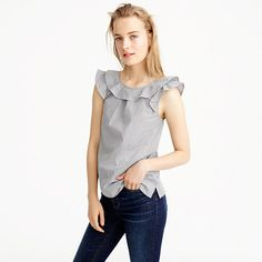A feminine top (thanks to our favorite fall flourish: ruffles) crafted in classic cotton shirting stripes. The slight scoopback is still bra-friendly, and it's a fun silhouette to wear at work or on the weekend. J Crew Outfits, Cool Outfits, Preppy Style, My Style, Ruffle Top, What To Wear, Clothes, Fall 2016, Summer 2016