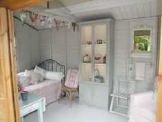 Garden Shed Ideas Interior . Garden Shed Ideas Interior . 15 Lovely Colorful and Bright Painted Shed Ideas Garden Shed Interiors, Summer House Interiors, Cabin Interiors, She Shed Interior Ideas, She Shed Decorating Ideas, Shed Bedroom Ideas, Interior Decorating, Garden Huts, Shed Makeover