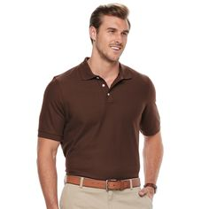 Big & Tall Croft & Barrow® Classic-Fit Easy-Care Performance Pique Polo, Men's, Size: L Tall, Brown