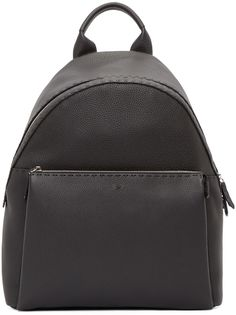 Structured grained leather backpack in black. Rolled grab handle at top. Silver-tone hardware. Zip-around closure at main compartment. Zip pocket at bag face. Adjustable shoulder straps at textile mesh back panel. Zip pocket and patch pockets at interior compartment. Fully lined in black linen. Tonal stitching. Approx. 13.5