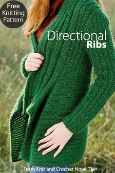 Free Knitting Pattern Download -- This Directional Ribs cardigan, designed by Irina Poludnenko, is featured in episode 305 of Knit and Crochet Now! TV. Learn more here: http://www.knitandcrochetnow.com