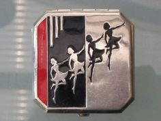 Art Deco enamelled chrome dancers compact (past Decogirl stock bought in the US)
