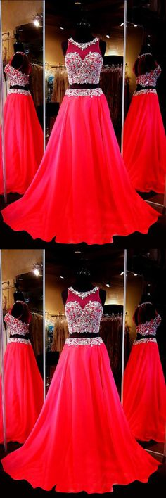 Two Piece Scoop Sleeveless Red Chiffon Prom Dresses With Beading PG278 #twopiece #prom #dress #eveningdress #party #fashion #satin #lace #reddress