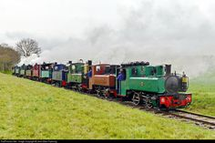 "Saint Valery sur Somme, France - April 26, 2013: ""A 'light' engine move with 10 narrow gauge steam locomotives, all working under their own steam."""