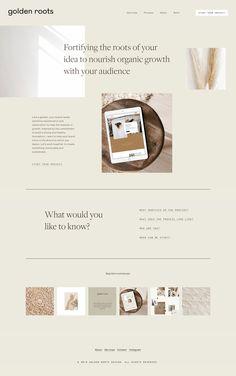 UI & Web Design golden roots homepage design Types and Uses o Web Design Trends, Design Web, Web Design Mobile, Simple Web Design, Homepage Design, Logo Design, Branding Design, Flat Design, Modern Web Design