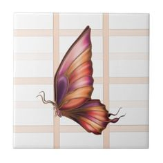 """Peach Squared with Butterfly Right Ceramic Tile Light peach gingham pattern and a butterfly side view. The stripes are semi-transparent so changing the background color affects the look. Click on the """"Customize it!"""" button for more options.  Artwork by Karlajkitty"""