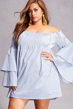 0860c61bf93f Plus Size Bell-Sleeve Dress Fashionable Plus Size Clothing