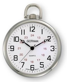 Gotham Men's Silver-Tone Ultra Thin Railroad Open Face Quartz Pocket Watch # GWC15026S Gotham. $39.95. Classic open face silver-tone pocket watch with ultra thin polished brass case suitable for engraving. Rich white railroad style dial with black 12 and red 24 hour markers. Precision Japanese analog quartz movement. Arrives with deluxe draw string pouch and gift box, operating instructions and lifetime limited warranty card. Includes 15 inch silver-tone curb link chain w...