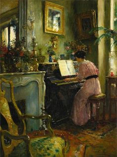 A Quiet Afternoon. Luis Jimenez y Aranda (Spanish, Oil on canvas. Luis Jiménez y Aranda delighted in representing the lifestyle of Spain and her people. His work was extremely well. Art And Illustration, Illustrations, World's Columbian Exposition, Piano Art, First Art, Old Master, Oeuvre D'art, Art Lessons, Piano Lessons
