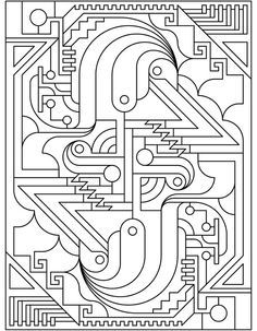 Deco Tech: Geometric Coloring book pages