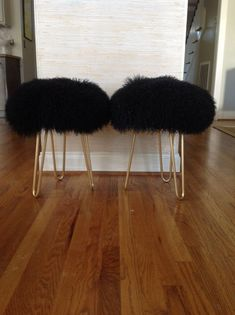 Pair of Black Genuine Mongolian Lamb Fur Stools With by Modnev