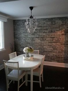 I love how this customer used my grey brick wallpaper in their dining room. It could've looked reall Brick Wallpaper Dining Room, Faux Brick Wallpaper, Dining Room Wall Decor, Room Decor, Bedroom Wallpaper, Brick Wallpaper Basement, Kitchen Wallpaper Accent Wall, Dining Room Fireplace, Old Brick Wall