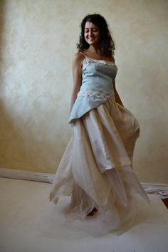 Light blue and ecru Lily Gown  silk and linen  cotton by LoreTree, €250.00  colors!!!