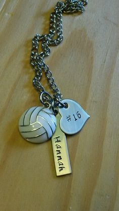 Personalized Hand Stamped Volleyball Necklace  Here is what you will get:  x1 - Volleyball Charm x1 - .25 x 1 1/4 Stainless Steel Bar Stamped