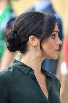 Meghan, Duchess of Sussex arrives at the University of Chichester's. Meghan Duchess of Sussex arrives at the University of Chichester's Engineering and Digital Technology Park during an official visit to Sussex on. Bridesmaid Hair, Prom Hair, Wedding Hair And Makeup, Hair Makeup, Hair Inspo, Hair Inspiration, Up Hairstyles, Wedding Hairstyles, Meghan Markle Hair