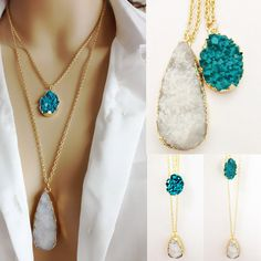 2015 New Summer Style Druzy Simulated Agate Quartz Teardrop Faux Stone Plastic Pendant Double Chain Necklace for Women-in Pendant Necklaces from Jewelry on Aliexpress.com | Alibaba Group