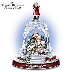 Thomas Kinkade Ring In The Season Crystal Bell Table Centerpiece Christmas Snow Globes, Christmas Bells, White Christmas, Vintage Christmas, Unique Centerpieces, Table Centerpieces, Thomas Kinkade Christmas, Musical Snow Globes, Santa Decorations