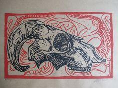 1schaap, 2 wolven. linoleum carving print.