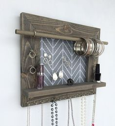 Dark CherryEbony Stained Wall Mounted Jewelry Organizer with Scroll