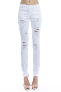 As soon as you slip into these white distressed skinny jeans you will be in love! These are the perfect skinny high-rise fit with a soft fabric and distressing! These will be your new favorite jeans this season! These fit true to size. Example: If you normally wear a size 4 in jeans order one size up, a size 5. Fabric:75% COTTON 23% POLYESTER 2% SPANDEX ALL CLEARANCE SALES ARE FINAL!
