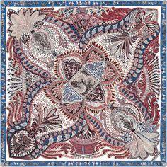 Le Jardin de la Maharani Châle 70 % cachemire 30 % soie (140 x 140 cm) Coloris : blanc/bleu/bois de rose Dessiné par Annie Faivre