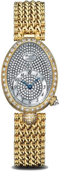 Breguet Reine de Naples 8928BA/8D/J20/DD00.Reine de Naples wristwatch in 18-carat white gold. Bezel, dial flange and lug set with 139 diamonds totaling approx. 1.32 cts. Self-winding movement. Balance spring in silicon. White natural mother-of-pearl dial. Off-centred chapter ring with Roman numerals. Sapphire case back. Water-resistant to 3 bar ( 30 m ). Dimensions : 33 x 24.95 mm. Also in yellow gold and rose gold. Available with satin bracelet.