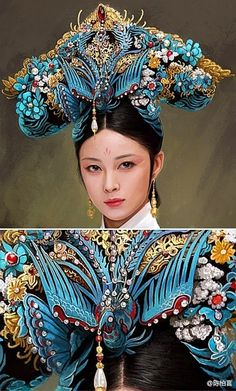 Two Chinese Hair Pins with Kingfisher Feather Embellishment on Gilt Metal Hair Accessory. The Spanish Comb on Ruby Lane