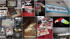 """Pirate Party - """"Arrr Me Hearties, Come to Me Party!!""""  this is a collection of all the details.  I painted the canvas ship (4'x8') to play """"Sink the Ship"""" which we tried to sink with tin foil wrapped paper balls as cannonballs.  We had a treasure hunt where the kids had to follow the clues to find the next buried treasure which was a piece to the pirate ensemble that they were slowly collecting from all the mini adventures.  They had to walk the plank, dig for treasure (with a candy cane…"""