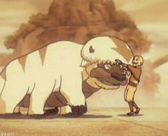 A boy and his sky bison. Aang and Appa, spirits connected since childhood.