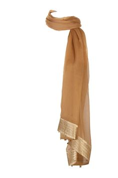 Gold Curry Solid Dupatta In Viscose Chiffon With Tissue Trims; Stitchlines At Widths With Gold Hangings & Pin Fold Finish At The Lengths; Non Crinkled And 2.25M In Length #Wishful #Fashion #Style #Colors #Drapes #W for #Woman