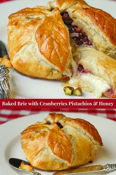 Baked Brie in Puff Pastry with Cranberries Pistachios and Honey. Frozen puff pastry makes this indulgent & impressive party food idea super easy to prepare. Baked Brie Puff Pastry, Frozen Puff Pastry, Puff Pastry Recipes, Savory Pastry, Rock Recipes, Honey Recipes, Baked Brie Honey, Baking With Honey, Canadian Food