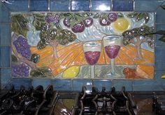 Landscape tile over stove commission tuscany scene. jravenettile.com