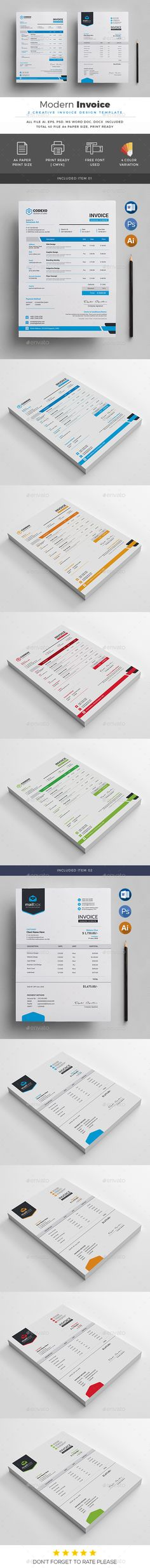 Invoice Template PSD, Vector EPS, AI Illustrator, MS Word doc & docx - A4 & US Letter Size