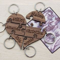 Best Friend gifts, Girl Squad, Bridesmaids Gift, Keyring Puzzle Heart, Best friends love these for the bridesmaids!!! perfect
