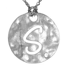 """Sterling Silver """"S"""" Initial Pendant with .015ctw Diamond #jewelry"""