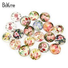 20Pcs/Lot Mix Flower Image Support Round Glass Cabochon 20MM Cameo Cabochons Jewelry Settings