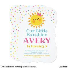Invitación Little Sunshine Birthday Sunshine Birthday Parties, First Birthday Parties, First Birthdays, Birthday Ideas, Yellow Party Decorations, First Birthday Invitations, Reno, You Are My Sunshine, Cards