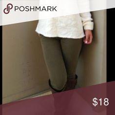 PLUS Size Olive Leggings Brushed, fleece lined. Stretch spandex. 92% polyester 8% spandex. Pants Leggings