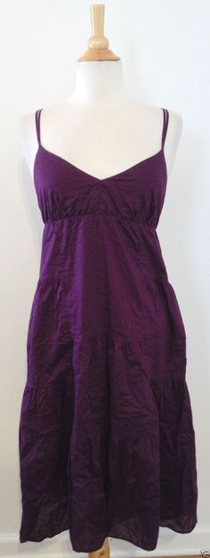 Gap Dark Plum Purple Empire Boho Peasant Cotton Dress Lined Size 8 GUC | eBay #RecycledCouture #Fashion #eBay