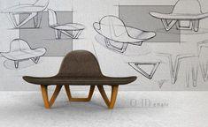 Nori Sakatsume - Om Chair - Design Index Industrial Design Portfolio, Industrial Design Sketch, Unique Furniture, Furniture Design, Furniture Sketches, Retro Furniture, House Furniture, Wooden Furniture, Bedroom Furniture