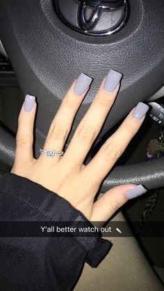 Tried the dip powder today. Say goodbye to acrylics forever this is where it's at #dippowder #nails #charcoal #grey #engagementring #diamond #perfect #squarenails #ring