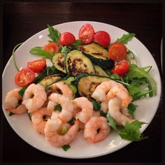 Grilled Zucchini & Jumbo Shrimp Antipasto.  233 cal // 28.2 g protein // 10.4 g carbs // $3.74  #MyhighproteinlowcarbLife