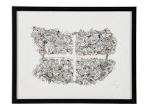 The Tube, Sketch & Embroidery Framed Print, Black & White