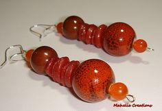 Chunky orange earrings large dangle earrings by MahelieCreations, $10.00