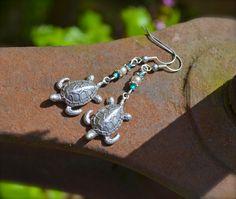 Sea+Turtle+Earrings+handmade+silver+and+by+practicallyfrivolous,+$25.00