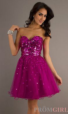 Short Strapless Sweetheart Sequin Embellished Dress(: this one is one of my Fav. only if it was not soo pink(: