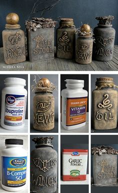 DIY Halloween Apothecary Jars' Tutorial from Magia Mia. Turn plastic vitamin bottles into creepy apothecary jars using a glue gun and chalkboard paint. For more apothecary DIYs and the best Halloween DIYs and inspiration (original sources) check out my Halloween Tumblr blog: halloweencrafts.tumblr.com