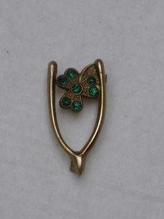 vintage gilt metal lucky wish bone & shamrock pin/brooch